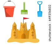 beach toys and sand castle.... | Shutterstock .eps vector #649356832