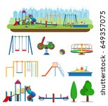 kids playground. buildings for... | Shutterstock .eps vector #649357075