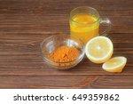 lemon water with turmeric | Shutterstock . vector #649359862