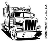 classic american truck. black... | Shutterstock .eps vector #649363165
