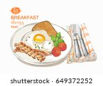 fried eggs with salad on a... | Shutterstock . vector #649372252