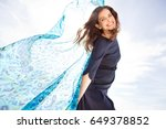 beautiful joyful mature woman... | Shutterstock . vector #649378852