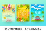 set of summer holidays and... | Shutterstock .eps vector #649382362