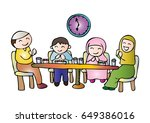 illustration of muslim family... | Shutterstock .eps vector #649386016
