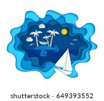 paper art carving with tropical ... | Shutterstock .eps vector #649393552