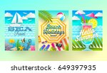 set of summer holidays and... | Shutterstock .eps vector #649397935
