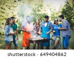 happy friends enjoying barbecue ... | Shutterstock . vector #649404862