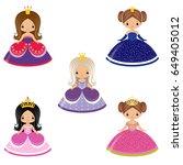 five cute vector little... | Shutterstock .eps vector #649405012