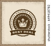 vintage best deal label.... | Shutterstock .eps vector #649418782