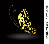 Stock vector gold butterfly vector image 64942048