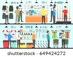 fishing shop interior set. | Shutterstock .eps vector #649424272