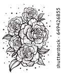hand drawn beautiful roses.... | Shutterstock .eps vector #649426855