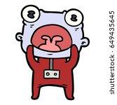 cartoon weird alien... | Shutterstock .eps vector #649435645