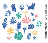 funny hand drawn cats and... | Shutterstock .eps vector #649436668