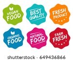 colorful eco food labels.... | Shutterstock .eps vector #649436866