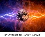 earth apocalypse in the fire...   Shutterstock . vector #649442425