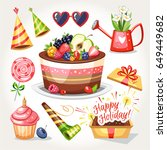 holiday birthday objects gifts... | Shutterstock .eps vector #649449682