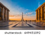 eiffel tower with morning light ... | Shutterstock . vector #649451092