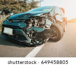 front of black car get damaged... | Shutterstock . vector #649458805