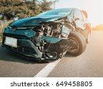 front of black car get damaged... | Shutterstock . vector #649458805