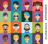 set of people icons with faces | Shutterstock .eps vector #649460605