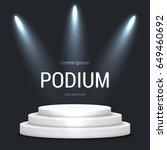 illuminated round stage podium  ... | Shutterstock .eps vector #649460692