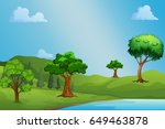 blue sky and green trees | Shutterstock . vector #649463878