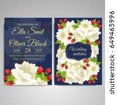 wedding invitation card suite... | Shutterstock .eps vector #649465996