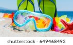 diving mask and sandals on the... | Shutterstock . vector #649468492