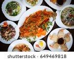 overhead shot of spicy fried... | Shutterstock . vector #649469818