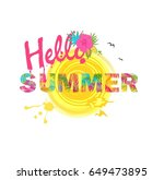 hello summer lettering with... | Shutterstock .eps vector #649473895