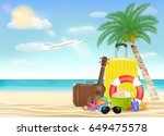 sea travel object with sun... | Shutterstock .eps vector #649475578