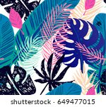 seamless trendy pattern with... | Shutterstock .eps vector #649477015