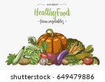 fresh vegetables background... | Shutterstock .eps vector #649479886
