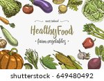 fresh vegetables background... | Shutterstock .eps vector #649480492