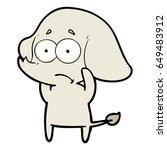 cartoon unsure elephant   Shutterstock .eps vector #649483912