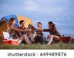 group of friends asian camp... | Shutterstock . vector #649489876