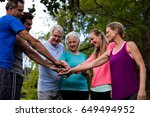 group of people doing a hand... | Shutterstock . vector #649494952