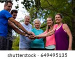 group of people doing a hand... | Shutterstock . vector #649495135