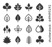 leaf icons set on white... | Shutterstock . vector #649495192