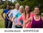 group of people exercising... | Shutterstock . vector #649495528