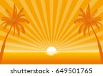 silhouette palm tree on beach... | Shutterstock .eps vector #649501765