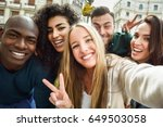 multiracial group of friends... | Shutterstock . vector #649503058