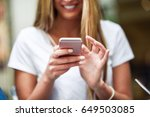 close up image of young blonde... | Shutterstock . vector #649503085
