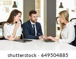 blonde woman insurance agent or ... | Shutterstock . vector #649504885