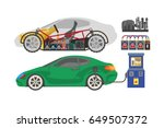 electrocar or electric car... | Shutterstock .eps vector #649507372