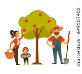 people gather fruit harvest... | Shutterstock .eps vector #649507402