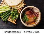 peking duck in bamboo steamer... | Shutterstock . vector #649512436
