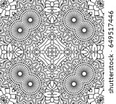 black and white outline floral... | Shutterstock .eps vector #649517446