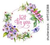 wildflower dogwood flower frame ... | Shutterstock . vector #649518388